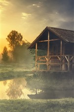 Preview iPhone wallpaper Summer, morning, forest, grass, pond, hut, fog
