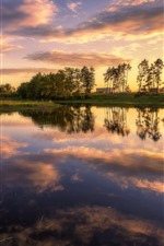 Preview iPhone wallpaper Summer, river, trees, sunset, water reflection