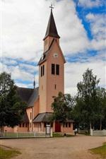 Suécia, arjeplog, igreja, árvores, nuvens