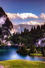 Preview iPhone wallpaper Switzerland, lake, island, trees, mountains