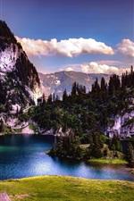 Switzerland, lake, island, trees, mountains