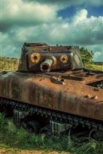 Preview iPhone wallpaper Tank, rusty, grass