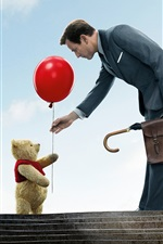 Preview iPhone wallpaper Teddy, toy bear, red balloon, man