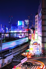 Tokyo, Japan, city night, lights, train, speed, crossroads