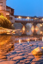 Preview iPhone wallpaper Town, bridge, clear water, stones, lights, night
