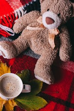 Preview iPhone wallpaper Toy bear, coffee, cup, maple leaf, book