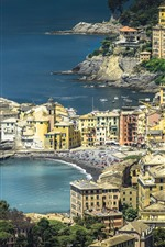 Travel to Italy, Liguria, houses, sea, coast
