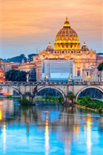 Preview iPhone wallpaper Travel to Rome, Italy, cathedral, river, bridge, dusk, lights