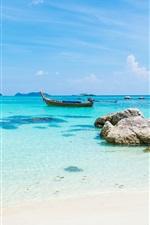 Preview iPhone wallpaper Tropics landscape, sea, beach, boat, summer