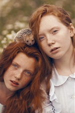 Preview iPhone wallpaper Two girls, red hair, freckles, hedgehogs