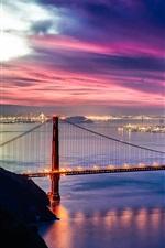 Preview iPhone wallpaper USA, California, Golden Gate Bridge, twilight, night, sea, lights