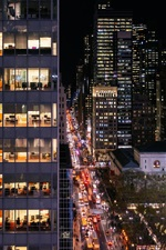 Preview iPhone wallpaper USA, New York, Manhattan, night, offices, lights, buildings