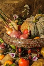 Vegetables, still life, pumpkin, tomatoes, potatoes, onion, oranges