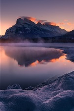 Preview iPhone wallpaper Vermillion Lakes, Canada, Banff National Park, snow, mountains, dusk
