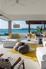Preview iPhone wallpaper Villa, living room, sofa, sea