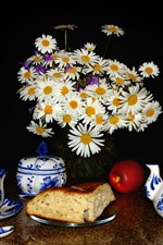 Preview iPhone wallpaper White chamomile flowers, teapot, cup, bread, apple, black background