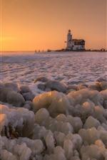 Winter, snow, ice, sea, lighthouse, sunset
