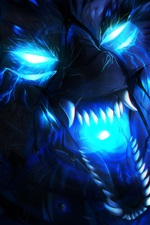 Wolf, blue flame, art picture