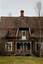 Wooden house, trees, countryside