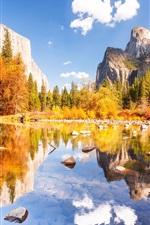 Parque Nacional de Yosemite, lindo outono, montanhas, lago, pedras, árvores