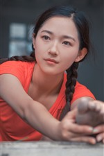 Preview iPhone wallpaper Young asian girl, braids