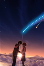 Preview iPhone wallpaper Your Name, beautiful meteor