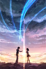 Your Name, girl and boy, love, Japanese anime