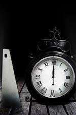 Preview iPhone wallpaper Alarm clock, saws, darkness
