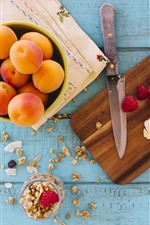Preview iPhone wallpaper Apricot, banana, raspberry, knife