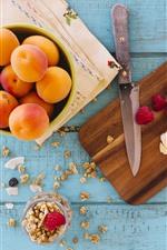 Apricot, banana, raspberry, knife