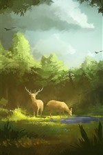 Preview iPhone wallpaper Art painting, forest, deer