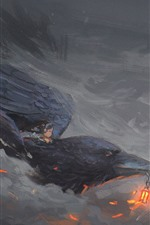 Preview iPhone wallpaper Art painting, raven, beak, flight, little girl, lamp