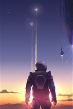 Preview iPhone wallpaper Art picture, astronaut, rocket, planet