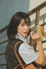 Preview iPhone wallpaper Asian Schoolgirl, short hair