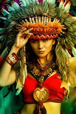 Preview iPhone wallpaper Asian girl, India style, feathers, decoration