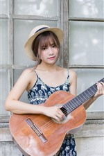 Preview iPhone wallpaper Asian girl, hat, guitar, window