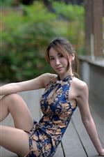 Preview iPhone wallpaper Asian girl, skirt, pose, legs