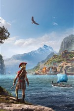 Preview iPhone wallpaper Assassin's Creed: Odyssey, girl back view