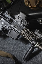 Preview iPhone wallpaper Assault rifle, military equipment, weapon