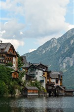 Preview iPhone wallpaper Austria, Hallstatt, lake, alps, houses, travel place