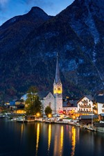 Preview iPhone wallpaper Austria, Hallstatt, lake, houses, mountains, night, lights