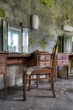 Barbershop, mirror, chair, ruins