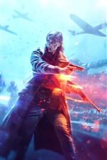 Preview iPhone wallpaper Battlefield 5, girl, war, tank, fighter