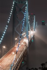 Preview iPhone wallpaper Bay Bridge, San Francisco, USA, night, illumination