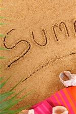 iPhone обои Пляж, песок, шлепанцы, раковина, лето