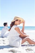 Beach, sand, woman, man, sea, summer