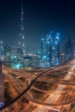 미리보기 iPhone 배경 화면 아름다운 두바이, 도시 밤, 고층 빌딩, 고속도로, 조명