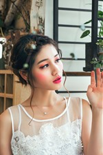 Preview iPhone wallpaper Beautiful asian girl, white lace skirt, makeup