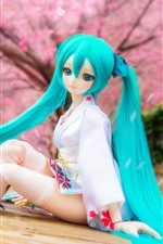 Preview iPhone wallpaper Beautiful blue hair doll girl, Hatsune Miku