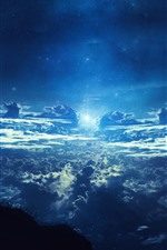 Preview iPhone wallpaper Beautiful dream world, clouds, sky, starry, moon, silhouette